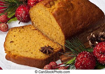 Pumpkin cinnamon cake during Christmas