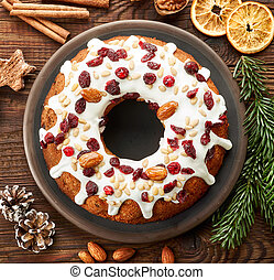 christmas cake with fruit and nuts