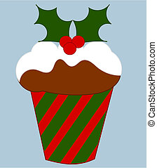 Christmas cake with holly decoration vector illustration