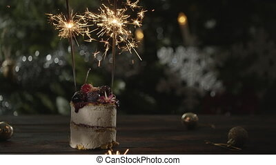 Christmas cake with sparklers