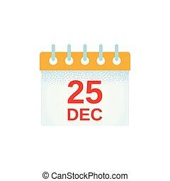 Christmas calendar icon. Vector illustration. 25 December date in flat design.
