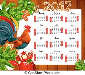 Christmas calendar on wooden background