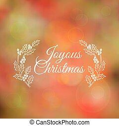 Christmas Calligraphic Card - for invitation, congratulation - in vector