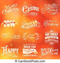 Christmas Calligraphic Card - for invitation, congratulation - in vector