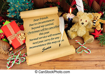 Christmas Cancelled - Old scroll with Christmas cancelled...