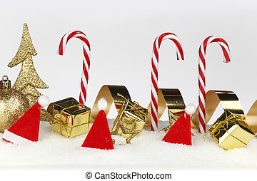 Christmas candies with festive decoration