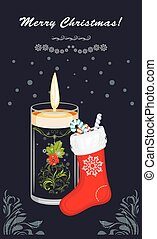 Christmas candle and sock on the dark blue background. Postcard