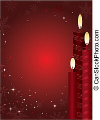Christmas Candle Background - Red holiday background with...