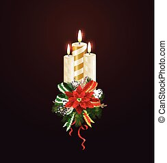 Christmas candle combined width Christmas tree branches, and...