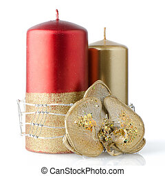Christmas candle decoration on white background.