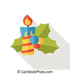 Christmas candle flat icon