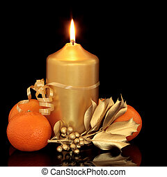 Christmas Candle, Holly and Fruit