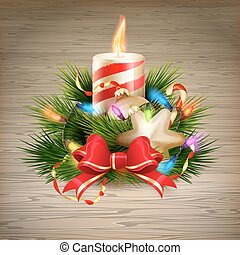 Christmas candle illustration. EPS 10