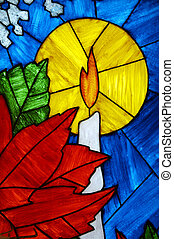 Christmas Candle in Stained Glass