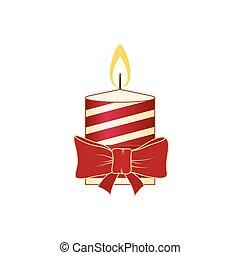 Christmas Candle Isolated on White Background