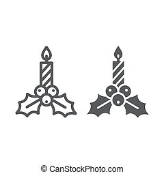 Christmas candle line and glyph icon, holiday