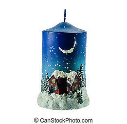 Christmas candle on a white background.
