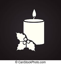 Christmas candle on black background for app or web using