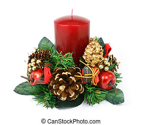 Christmas ornament with red candle, pine cones, apples and little gift box