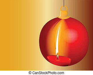 Reflection of a red burning candle in a Christmas Bauble.