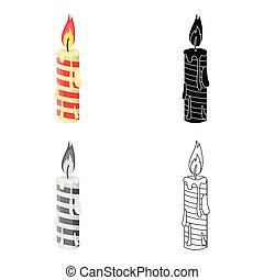 Christmas candle single icon in cartoon,black,flat,monochrome style for design.Christmas vector symbol stock illustration web.
