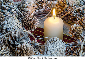 Christmas candle, home decoration