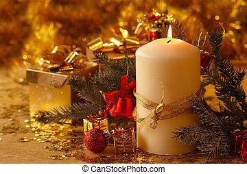 Christmas candle - Christmas decorative burning candle, fir...