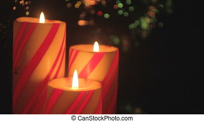 Christmas candle trio detail