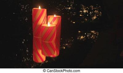 Christmas candle trio - Trio of red striped Christmas...