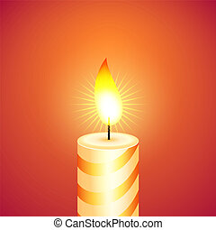 Christmas candle. Vector illustration.