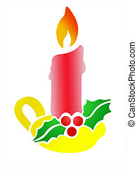 Christmas Candle with Holly. Clipping path included