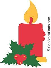 Christmas candle with mistletoe