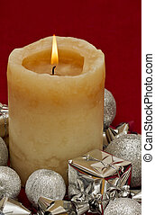 Christmas candle with silver decorations