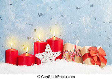 Christmas candles and gifts