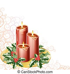 christmas candles and holly with an abstract festive ...