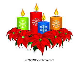 Christmas Candles and Poinsettia Ch - A Group of Beautiful...