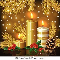 Christmas candles background. Holy night Eve golden card. Vector