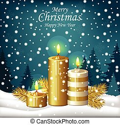 Christmas candles background. Holy night Eve winter card. Vector