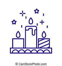Christmas candles burning on tray linear icon in blue