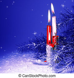 Christmas Candles Burning in Pine Tree and Snow