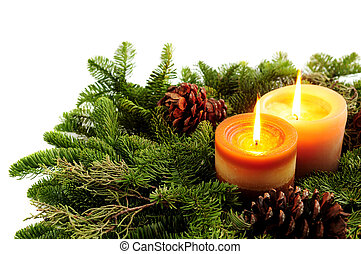 Christmas candles - Christmas arrangement of burning candles...