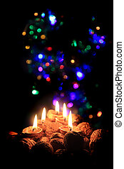 christmas candles in the dark night