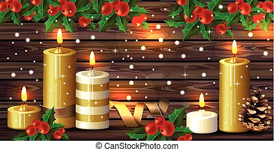 Christmas candles over wooden background. Vector Happy Holidays cards