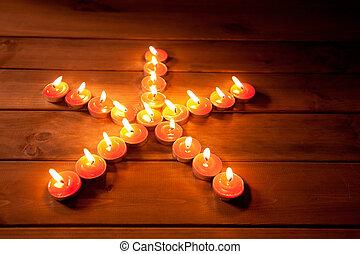 christmas candles pentagram star on wood - christmas candles...