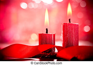 Christmas Candles - still life with two christmas candles ...