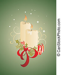 vector illustration ofa christmas decoration with candles