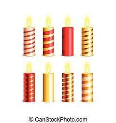 Christmas candles vector set