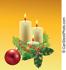 christmas candles with decorated fir-tree branch