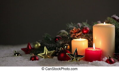 Christmas candles with decoration - Christmas candle with...