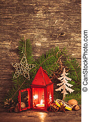 Christmas candlestick - Red christmas candlestick and...